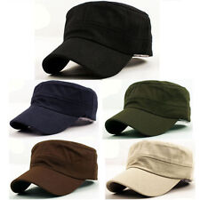 New Classic Plain Vintage Army Military Cadet Style Cotton Cap Hat Adjustable BT