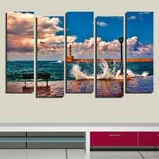 Lighthouse & wave Wall decor high Quality Canvas Print Set of 5 framed clock