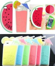 Refreshing Pink Watermelon Ice Lemon Juice Silicone Case For iPhone 5 5S 4 4s