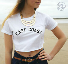* EAST COAST Crop Top Tank Fashion Tumblr Miley Cyrus Beach Summer Dope Fresh *