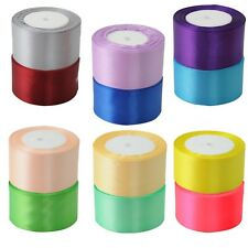 "Hot 22 Metres 25 Yards Satin Ribbon 2"" 50mm 5cm Sold By Rolls Multiple Colours"