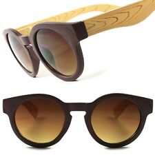 Fancy Stylish Hot Vintage Retro Hipster Wood Effect Cool Round Sunglasses C80D