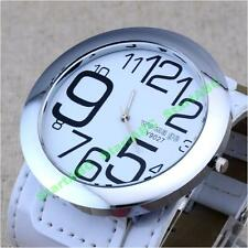 New Big Number Large Numeral Dial Large Leather Wristband Men Women Quartz Watch