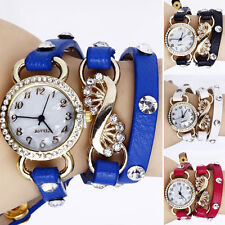 Gothic Women Crystal Dial Layers Leather Bracelet Quartz Analog Wrist Watch BBCU