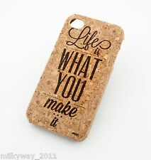 C167 CORK CASE COVER FOR IPHONE 5C LIFE IS WHAT YOU MAKE IT quotes live by wood
