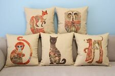 """Cartoon Decor Throw Pillow Case Cushion Cover Square 18"""" Colorful Animals Totem"""