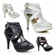WOMENS LADIES SEXY PLATFORM CUT OUT MESH STILETTO HIGH HEEL PEEP TOE SHOES SIZE