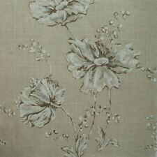 "72"" Summer's Night Linen Beige Floral Fabric Shower Curtain Cotton"