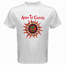 New ALICE IN CHAINS *Sun Logo Grunge Rock Band Men's White T-Shirt Size S to 3XL