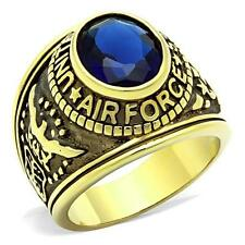Men's Gold Tone Stainless Steel Blue CZ USA Air Force Military Ring Size 8-13