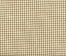 "2 French Country Gingham Check Linen Beige 24"" Curtain Panels Tiers Cotton"