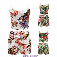 New Ladies Two Piece Tropical Floral Print Womens Crop Top Hotpants Shots Summer