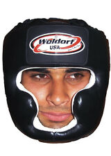 Woldorf USA Boxing Head Guard in Black Leather with Chin Protection,Sparring MMA