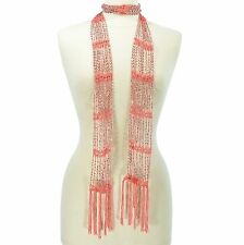 Solid Color Seed Bead Extra Long Thin Lightweight Belt Wrap Scarf
