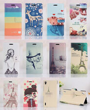 Fashion Flip Printed ID Card PU Leather Stand Case Cover For Huawei Ascend P7