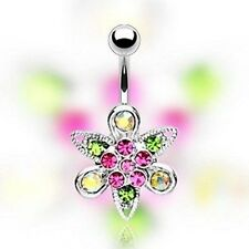 316L Surgical Steel Multi-Colored Gem Paved Fancy Flower Navel belly Ring
