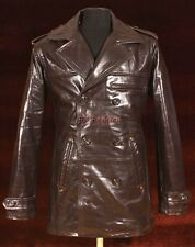 Anthony Brown Men Gent's New Smart Double Breasted Real Glazed Leather Jacket