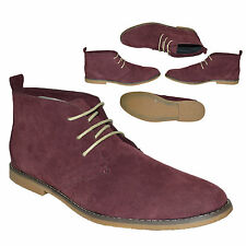 MENS NEW BURGUNDY CHUKKA SUEDE ANKLE LACE UP DESSERT BOOTS SHOES SIZE