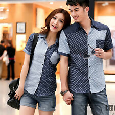 New Couple Chic Short Sleeve Blouse Tops Dots Lapel Shirt Lover Shirts