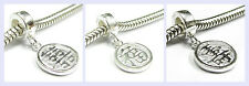 STR Silver Chinese Word Long Life Lucky Fortune Bead f/ European Charm Bracelet