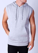 NEW Men's Gray Vest Hoodie sleeveless tank top gym mma boxing running workout