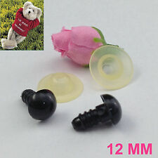 12MM BLACK ROUND SAFETY PLASTIC EYES FOR BEARS SOFT TOY SNAP ANIMAL DOLLS CRAFTS