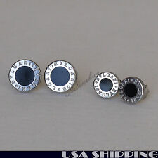 Black Round Alphabet Pattern 316L Stainless Steel Men Earrings Ear Stud
