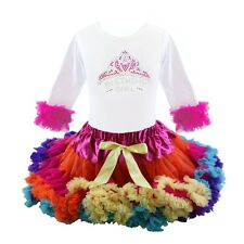 Frozen Anna Birthday Girl Tutu Pettiskirt Rainbow Outfit Pageant Party NWT 1-6Yr