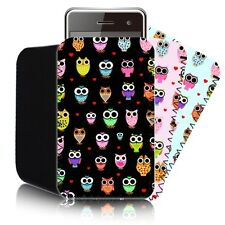 'CUTE OWLS' Retro Slip Pouch for NOKIA LUMIA 520 Neoprene Case Cover (M)