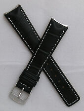 Black crocodile-style leather pin buckle strap for TAG Heuer 6000 Series gents