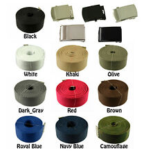 60 inches Military Canvas Plain, Flip, Silver, Black, Web Belt & Buckle 10 Color