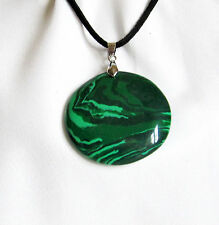 Faux GREEN MALACHITE Stone Pendant With Velvet Cord Necklace - Choice of Designs