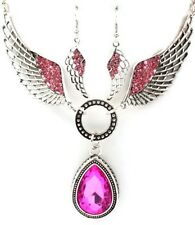 NECKLACE AND EARRING SET PENDANT TEAR DROP CRYSTAL STUDS WINGS ACRYLIC STONE