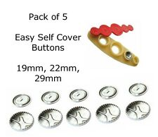 5  Metal Easy Self Cover Buttons - Button Shells - 19mm, 22mm, 29mm