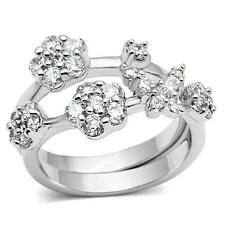 Women's Silver Tone Butterfly and Flower Cubic Zirconia Fashion Ring Size 5-10