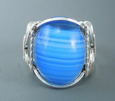 Sterling Silver Blue Swirl Glass Cabochon Wire Wrapped Ring