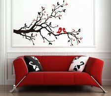 Birds in Love on Branch with Hearts, Romantic Vinyl Wall Sticker Art Decor Decal