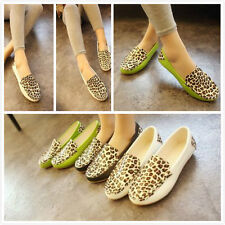 Womens Flats Sandals Ballet Leopard Flat Heel Shoes Travel Loafers Casual Comfy