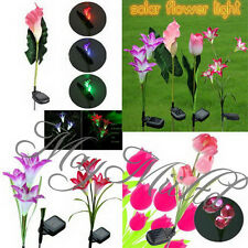 Lily/Calla/Tulip Solar LED Color Changing Flower Garden Path Light Lawn Lamp E