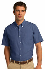 Port Authority Men's Short Sleeve Patch Pocket Poplin Button Down Shirt. S656