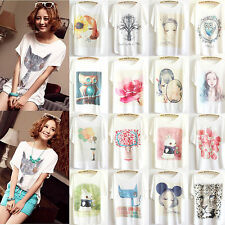 Fashion Women's Loose Cotton Batwing Sleeve Print T-Shirt Summer Tee Blouse Tops