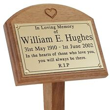 "18"" Heart Oak Wooden Grave Tree Marker Engraved Plaque Memorial ground stake pet"