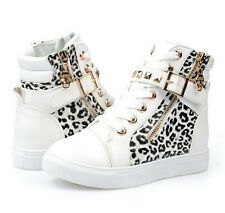 new womens lace up leopard mixed ankle strap boots girl sneakers school shoes A