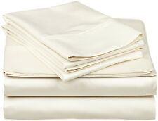 Branded 1200TC Ivory Best Solid Fitted Sheet 1-Piece With Extra Pocket & US Size