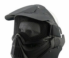 Airsoft Tactical Full Face Guard Mask w/Mesh with Goggles Protect Adjustable