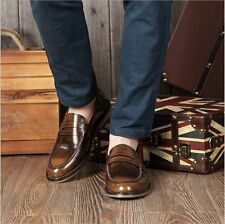 Mens Pointed Toe Oxford Brogues Slip On Loafers Dress Formal Casual  Shoes