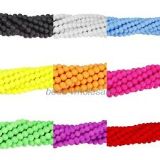 Matte Neon Frosted Glass Ball Spacer Beads Long Strand Various Color 4/6/8/10mm