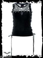 Queen of Darkness Black Vest Top with Fishnet Panel Goth Punk SH11-498/13