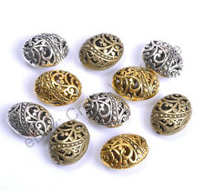 Wholesale 10pcs Tibetan Silver Ellipse Shaped Hollow Spacer Beads For Jewellry