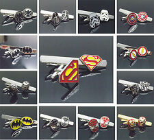 Superman SUPERHERO Stainless Steel Men's Tie Clips CLASP & Cufflinks Set